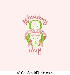 womans, salutation, main, dessiné, lettering., jour, carte, heureux