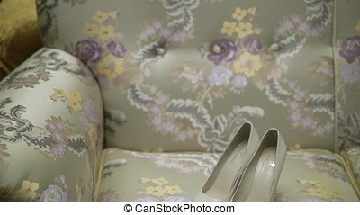 Woman's shoes indoors - Woman's white bridal shoes indoors