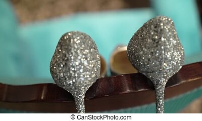 Womans shoes with crystals - Womans shoes with silver...