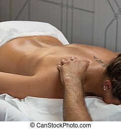 Woman's Shoulder Massage after Fitness Activity, Wellness and Sport