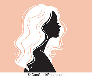 Woman's silhouette with beautiful hair - Vector illustration...