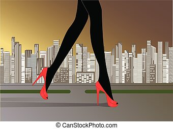 woman's slender legs in red high-heeled shoes run on the road against the yellow gray background of skyscrapers