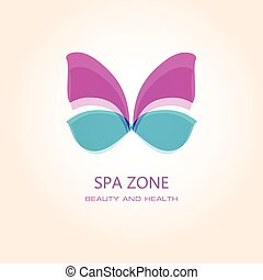 Woman's spa salon logo sign with butterfly. Abstract design concept for beauty salon.
