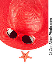 Woman`s summer red straw hat