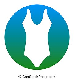 Woman`s swimsuit sign. Vector. White icon in bluish circle on white background. Isolated.