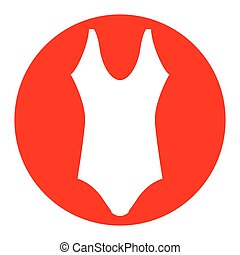 Woman`s swimsuit sign. Vector. White icon in red circle on white background. Isolated.