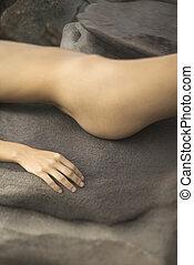 Womans torso - Close up of young nude Caucasian womans torso...