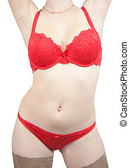 womans torso in red underwear on white background