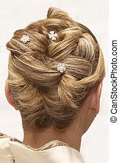 woman\'s, trouwfeest, hairstyle., vrijstaand