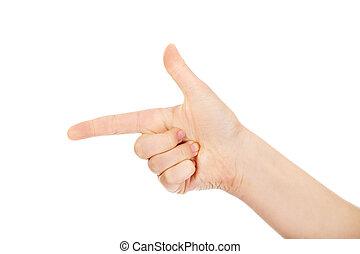 Woman's two finger like a gun