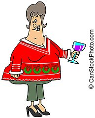 Woman's ugly Christmas sweater