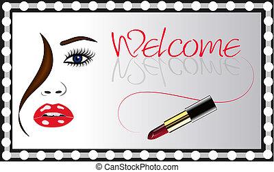 womans, vektor, spiegel, lippenstift, gesicht