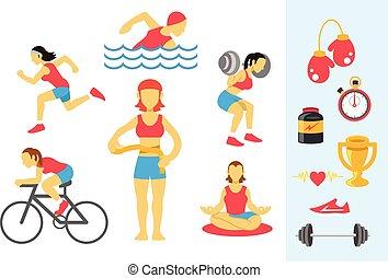 womans, vettore, sport, idoneità