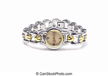 Womans wrist watch on white background