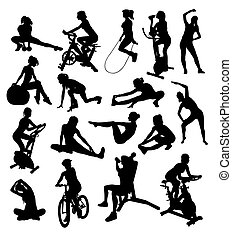 Woman,Sport Activity Silhouettes