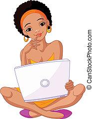 womanwith, afrykanin, laptop