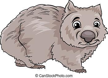wombat, caricatura, ilustración, animal