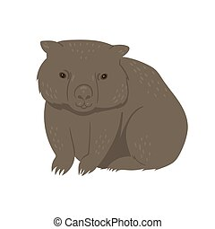 Wombat isolated on a white background. Vector graphics.