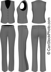 wome, formel, complet, pantalon noir