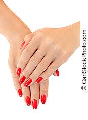 women., 若い, 釘, 手, ポーランド語, 赤