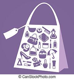 women accessories icon set