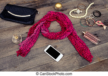 women  accessories on wooden backgrounds