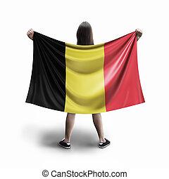 Women and Belgian flag