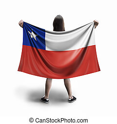 Women and Chilean flag