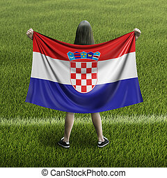 Women and Croatian flag