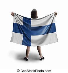 Women and Finnish flag