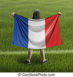 Women and French flag