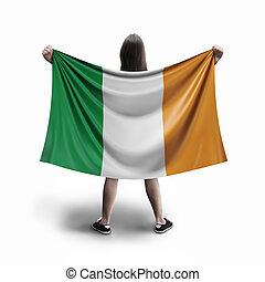 Women and Irish flag