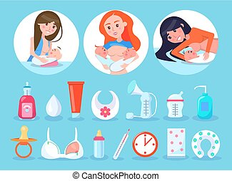 Women and Items Collection Vector Illustration - Women and...
