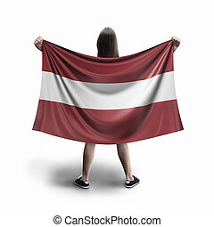 Women and Latvian flag