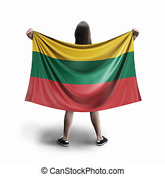 Women and Lithuanian flag