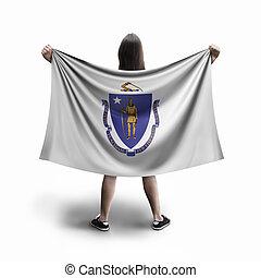 Women and Massachusetts flag