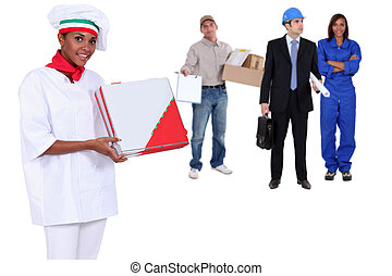 women and men in professional outfit