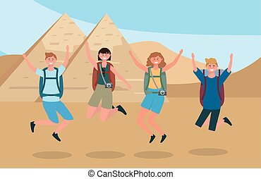 women and men jumping with backpack and camera