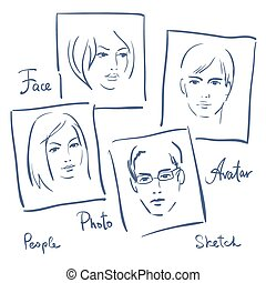 Women and men portrets sketch. Set of photo frames
