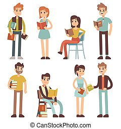 Women and men reading books. People readers vector characters set