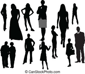 Women and men silhouettes. Vector