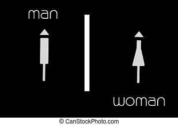 Women and Men Toilet Sign on black background