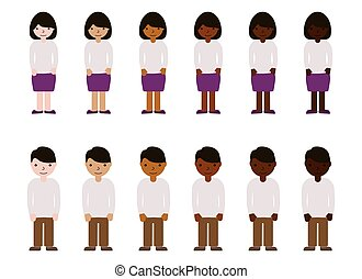 Women and men with different skin color. Adults people race diversity. Multinational vector illustration