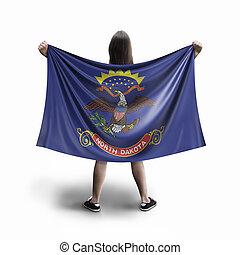 Women and North Dakota flag