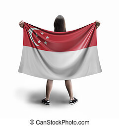 Women and Singapore flag