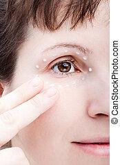 Women applying eye skin cream