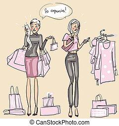 Women at shopping mall