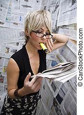 journalist - women at work: journalist standing against a...