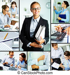 Women at work - Collage of young businesswomen working in...