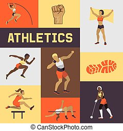 Women athletics banner, poster, brochure vector illustration. Exercising female in different poses. Woman figures are training in sport club. Running and jumping. Athletics competition.